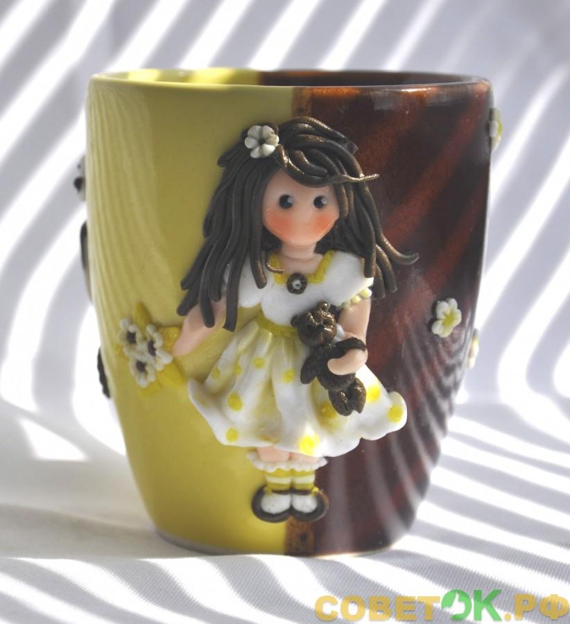 Мастер-класс: Чашка с полимерным декором