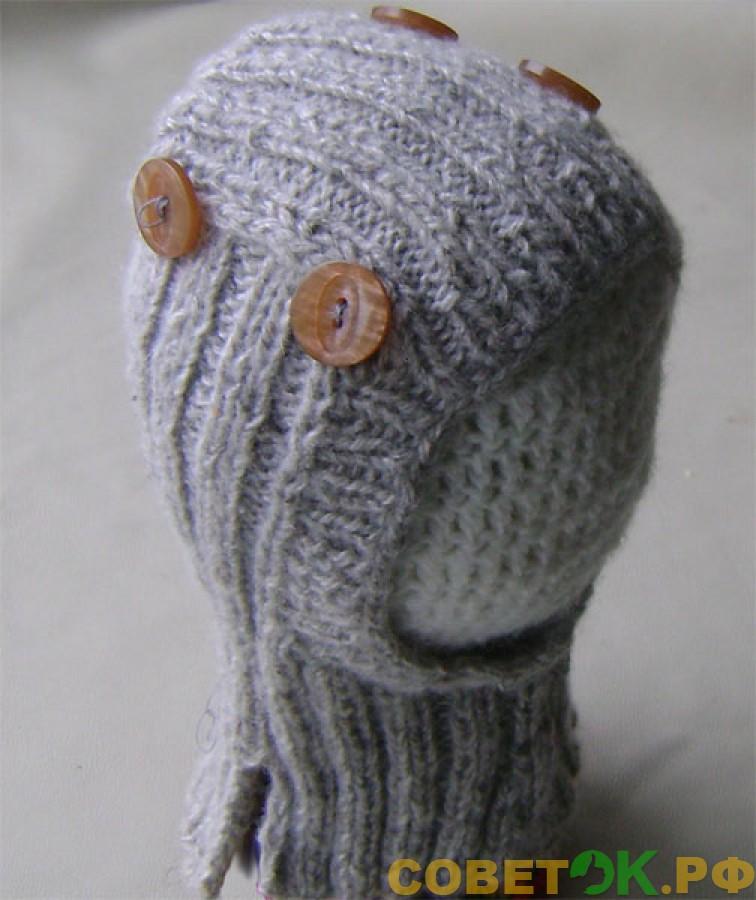Как связать спицами теплый шлем с манишкой для мальчика