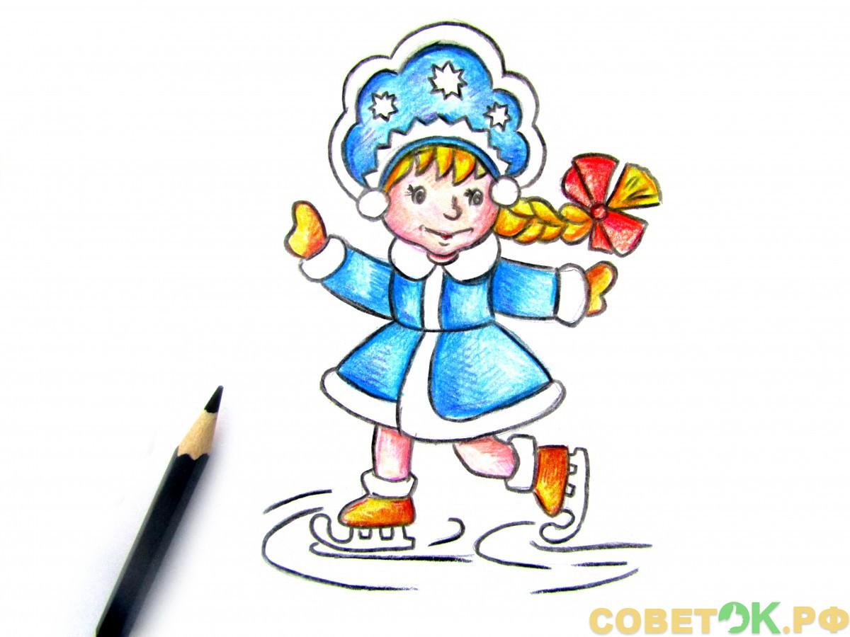 Как поэтапно нарисовать Снегурочку