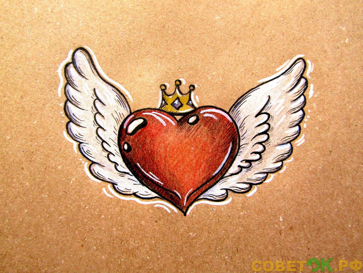 Как поэтапно нарисовать сердце с крыльями: валентинка на День святого Валентина