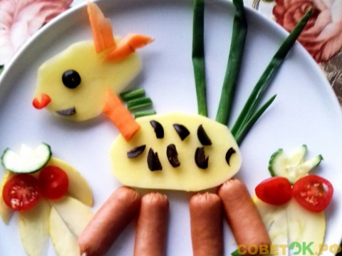 Блюдо для малышей. Телёнок на тарелке